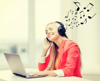happy woman with headphones listening to music
