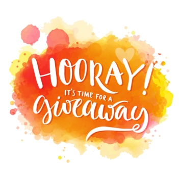 Hooray, it's time for a giveaway. Banner for social media contests and promo, positive vector lettering at bright orange and red watercolor background with splashes of paint.