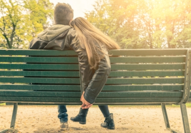 Couple in love on a bench