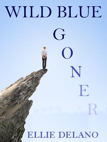 Risky businesswoman standing on edge of rock