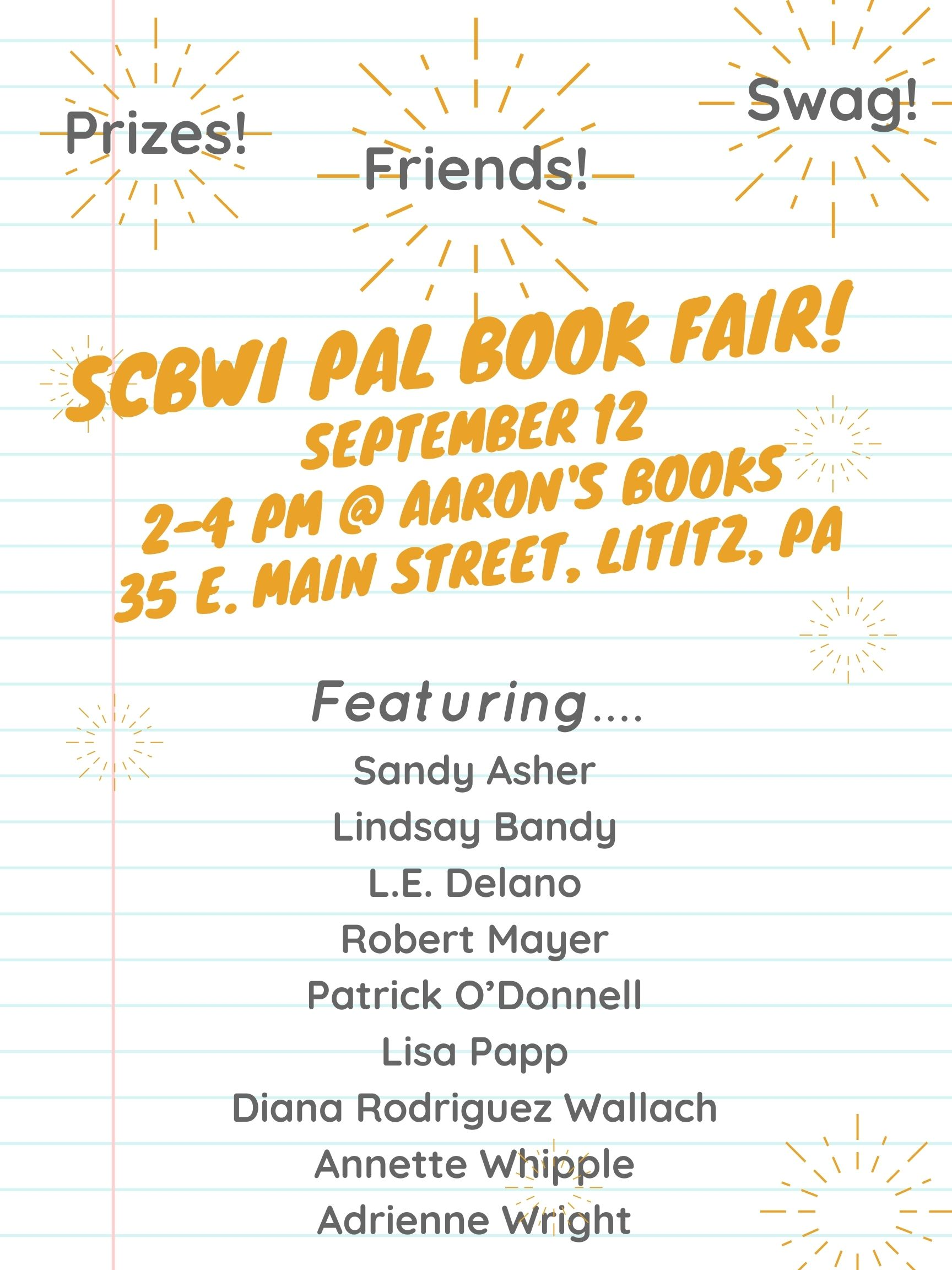 SCBWI PAL book fair! September 12 11am-4 pm at Aaron's books lititz, pa